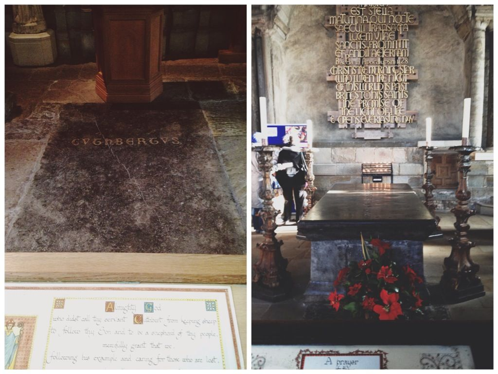 Left: Shrine of St. Cuthbert/St. Cuthbert's Grave, Right: The Venerable Bede's Tomb